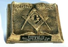 MASONIC HOLY BIBLE TROPHY PLAQUE PAPERWEIGHT PRESENTATION GIFT PERSONALISED