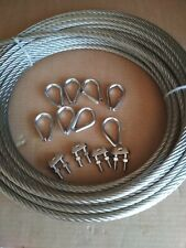 Câble d'acier inoxydable environ 25 m diamètre 10 mm + accessoires *NEUF*