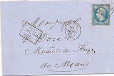 LETTRE COVER,LAC;Yv 22 GC 2032,Gironde LIBOURNE + après le départ 2032,24/3/1868