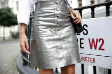 ZARA Woman BNWT Aged Silver Metallic Leather Mini Skirt XS  Ref. 7418/241