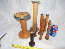 8 Vintage  Wooden Industrial Textile Thread Spools / Bobbins