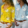 Women Long Sleeve Blouses Office Turn-down Collar Blouse Shirt Casual Tops