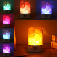 USB Natural Himalayan Crystal Salt Lamp LED Night Light Air Purifier Dimmer