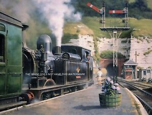 MAGNIFICENT MOUNTED RAILWAY PRINT LOCOMOTIVE & TRAIN VENTNOR ISLE OF WIGHT 1950s