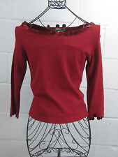 NWT Caryn Vallone Red Sequin Paillette Boat Neck Top Shirt L Large Saks $158