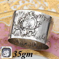 Antique French Sterling Silver Napkin Ring, Louis XIV or Rococo Pattern, 35gm