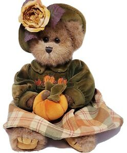 "The Bearington Collection Plush Bear ""Autumn Harvester""  Pumpkin #1079 14"" Tall"