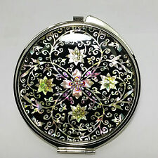 """Mother of Pearl Dual sided Compact magnifying Hand Mirror Gift 2.95"""" Big Size"""