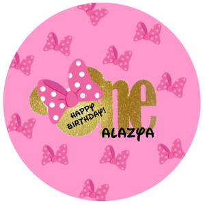 """12 Minnie Mouse Favor Labels 2.5"""" Birthday, Baby Shower"""