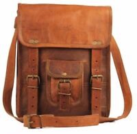 Men's Retro Brown Real Leather Messenger Shoulder Bag Laptop Case Briefcase