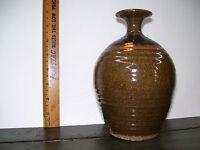 Vintage Studio Stoneware Art Pottery Bud Vase Green/Brown Mottled Ribbed Signed