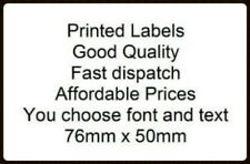 50 Personalised 76 x 51mm White self adhesive labels - you choose text