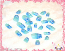 Starsire Blue and White Ocean Wave Japan Acrylic Fake 24 3D Shiny Full Nails