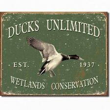 Vintage Replica Tin Metal Sign Ducks Unlimited Wetland conservation 1937 1388