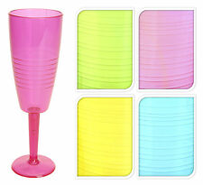 6 Acrylic Plastic Champagne Flutes Modern Striped Effect for Parties&Weddings