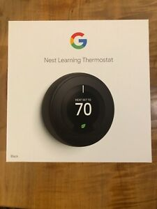 Nest 3rd Generation Learning Black Programmable Thermostat T3016US - New