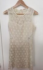 COTTON CANDY Anthropologie Ivory Lace Short  Dress Mesh Floral Lined- Sz S