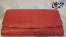 Genuine Crocodile Alligator Wallet Skin Leather Belly Trifold Womens Clutch Pink