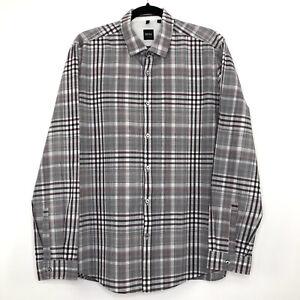 Mens HUGO BOSS Regular Fit Casual Multicoloured Striped Long Sleeve Shirt Size L