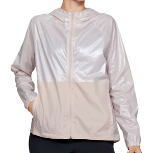 Under Armour Womens Pink Storm Metallic Woven Hooded Rain Jacket Size Small $65
