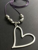 PURPLE Long Cord Necklace With A LOVE HEART Pendant And Flower Beads Lagenlook