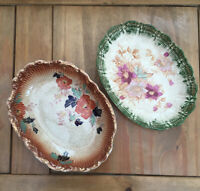 Vintage PAIR Decorative Serving Dishes. Rust &Green. Scalloped Edge. Floral