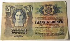 1913 MAGYAR BANK NOTR 20 HUSZ KORONA