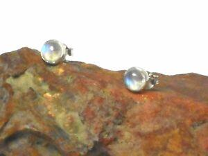 MOONSTONE   Sterling  Silver  925  Gemstone  Stud  Earrings  -  4 mm