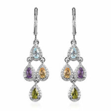 Stainless Steel Mothers Day Gifts Jewelry Pink Amethyst Citrine Earrings Ct 1.8