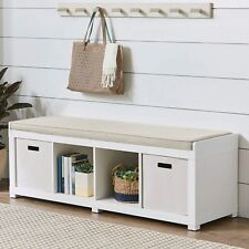 Entryway Storage Bench Wood Cushion Sitting Furniture Upholstered - White
