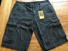 "Men's washed overdye striped DRUNKNMUNKY cargo bellows pockets shorts, 32"" waist"