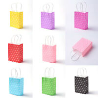 10pc 8Colors Bright Polka Dots Paper Bags for Sweets Birthday Party with Handles