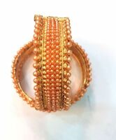 Ethnic Indian Bollywood Jewelry Gold Plated LCD Pearls Bracelets Bangles 2.8""