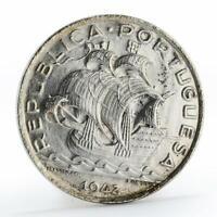 Portugal 10 escudos Boat Sailing silver coin 1942