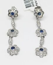 18K White Gold Hand Made Blue Sapphire and Diamond Flower Dangling Earrings