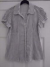 Ladies Shirt size 10 Short Sleeve White Black Stripe BNWT
