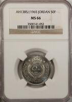 Jordan 50 Fils 1965  NGC MS 66 UNC Copper Nickel  High Grade