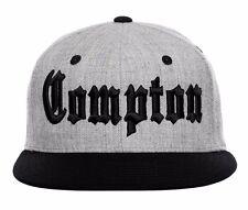 Gray & Black Compton Embroidered Hip Hop Wool Flat Bill Snapback Snap Cap Hat