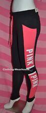 Victoria's Secret PINK Cotton Campus Yoga Leggings Pants Black White Dog Logo L