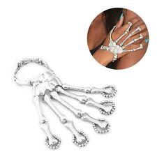 Cool Silver Devil Talon Skeleton Skull Bone Hand Finger Ring Slave Bracelet Cuff