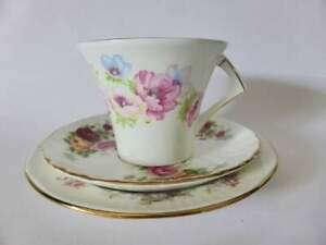 Vintage China Tea Cup, Saucer & Plate, Floral Bone China, Mismatched Trio