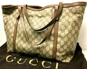 Gucci GG Monogram Handbag Purse Tote Bag Brown Italy w/Dust bag