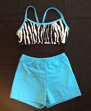 dance cheer tumbling crop top shorts set blue black zebra print Youth Large L