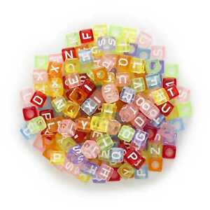100 Multicolor Random Mixed Square Letter Beads Alphabets Acrylic Spacer 6mm
