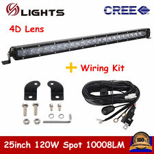 4D+ 25inch 120W LED Single Row Light Bar Spot Offroad For Jeep 22/24+Wiring Kit