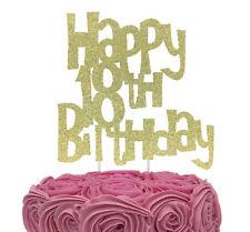 Happy 18th Birthday Cake Topper - Glittery Gold
