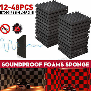 12/48 Acoustic Wall Panel Tiles Studio Sound Proofing Insulation Foam Pads Home