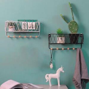 Wall Mounted Shelf Hooks Basket Wire Rack Storage Unit With Key Hanging Hangers