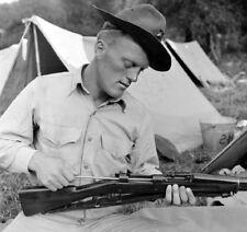 WW2  Photo WWII US Marine Rifle Cleaning 1903 USMC 1941  World War Two / 1623