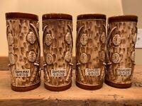 RARE SET of 4 Tiki Polynesian Hawaiian Brown Tall Mug Cup Samurai Grog JAPAN A++